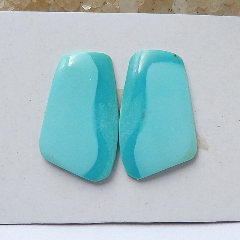 Natural Turquoise Gemstone Cabochon Piar, 19x11x2mm H4410