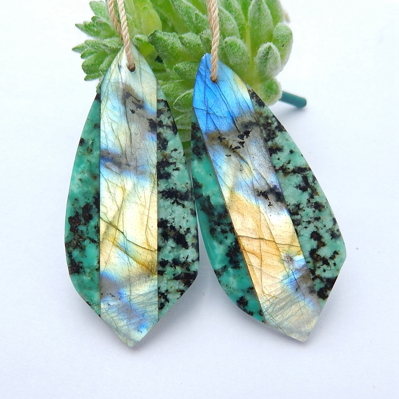 Africa Turquoise and Labradorite Intarsia Gemstone Earrings Bead H4377