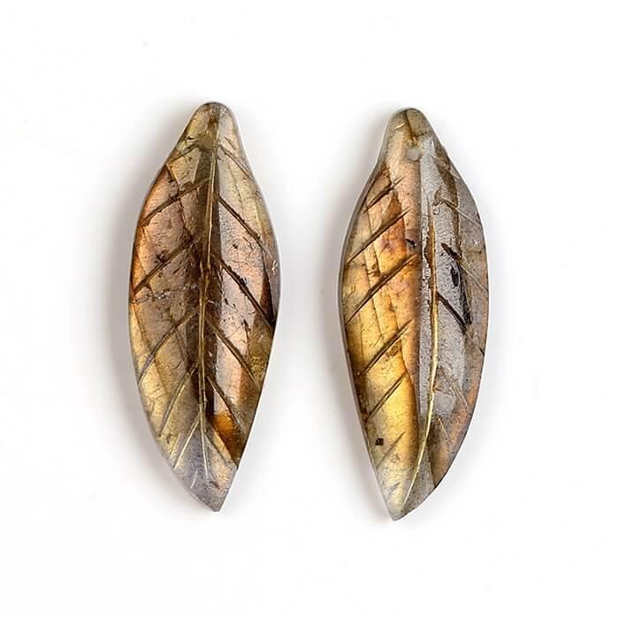 Gemstone Labradorite carved leaf shaped earrings beads H4095