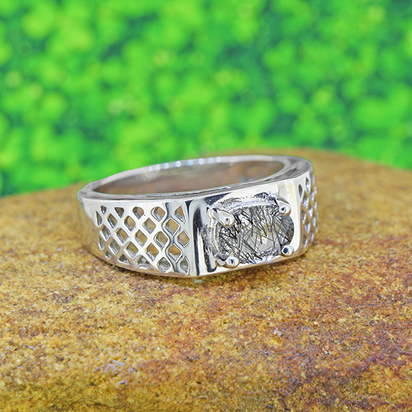 Natural Rutile Quartz  925 Sterling Silver Gents' ring (SSR0198)