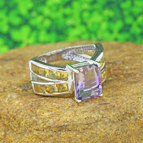 Natural Fancy-cut  Ametrine & Citrine  925 Sterling Silver Ring (SSR003