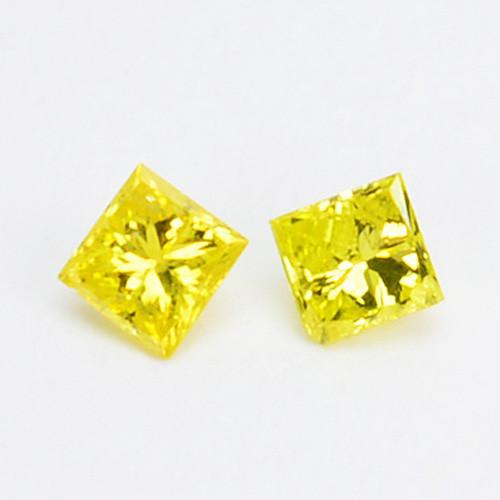 0.09 Cts Natural Canary Yellow Diamond 2Pcs Princess Cut Africa