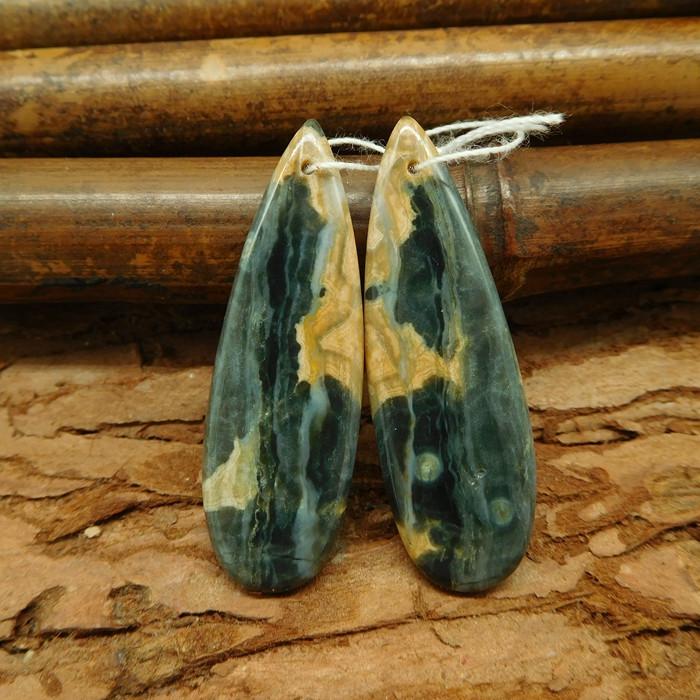 Ocean jasper earring beads teardrop shape match cabochon pairs (G0023)