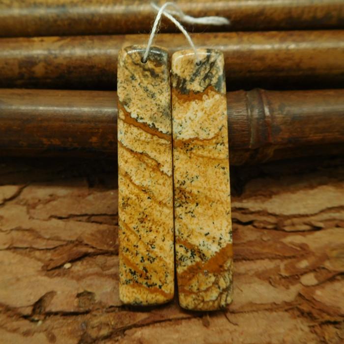 Natural stone picture jasper earring bead pairs semi-precious gemstone cabo