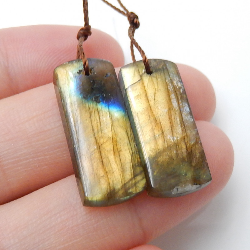 19.5cts Natural Square Labradorite Earrings,Handmade Gemstone ,Lucky Stone