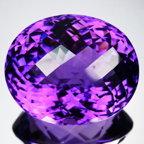 49.55 Cts Natural Purple Amethyst Oval (Checkerboard Cut) Bolivia