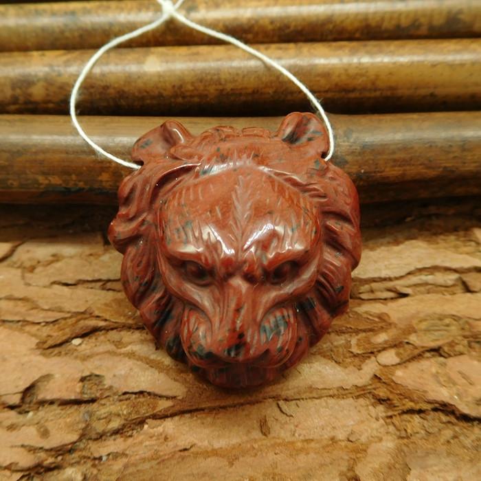 Mahogony obsidian carved lion pendant gemstone animal carving bead (G0029)