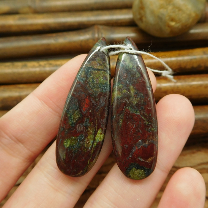 Dragon bloodstone teardrop earring pairs gemstone cabochon pair (G0039)
