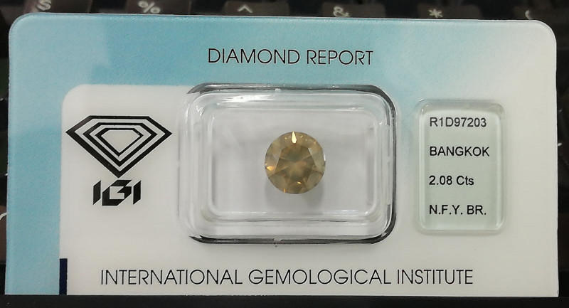 2.08 Cts IGI Certified Natural Fancy Yellow Brown Color Loose Diamond
