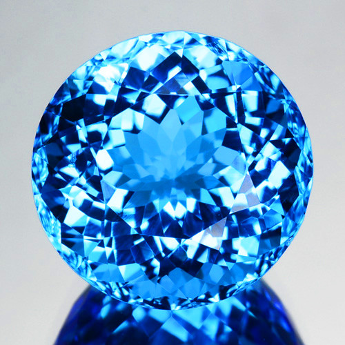 ~BRILLIANT~ 9.42 Cts Natural Swiss Blue Topaz Round Cut Brazil
