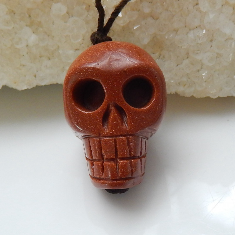 Hand Carved Skull Pendant Bead ,Red Sunstone Gemstone C266