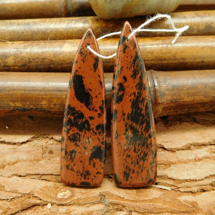 Semi-precious stone long triangle obsidian earring bead for sale (G0069)
