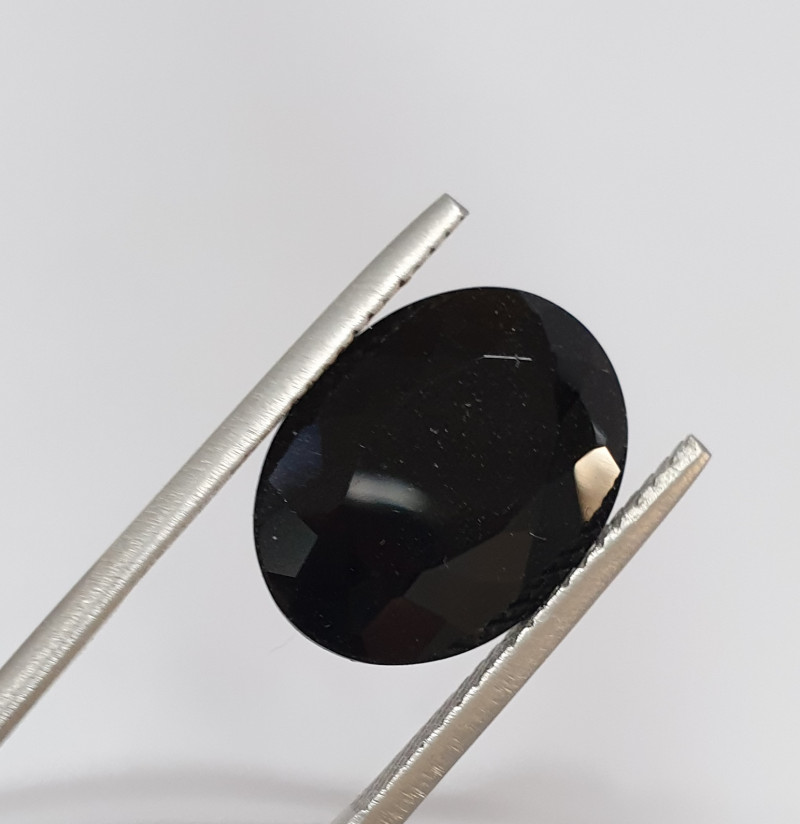 9ct Black Tourmaline Faceted Oval  16x12x7mm(SKU 78)