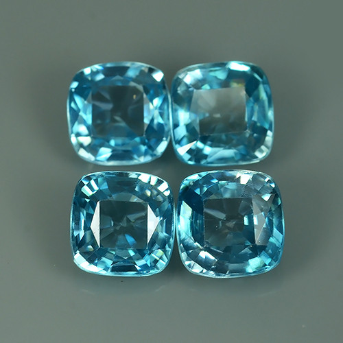 7.10 CTS FABULOUSLY NATURAL BLUE ZIRCON TOP QUALITY CUSHION CUT EXECLLENT!!