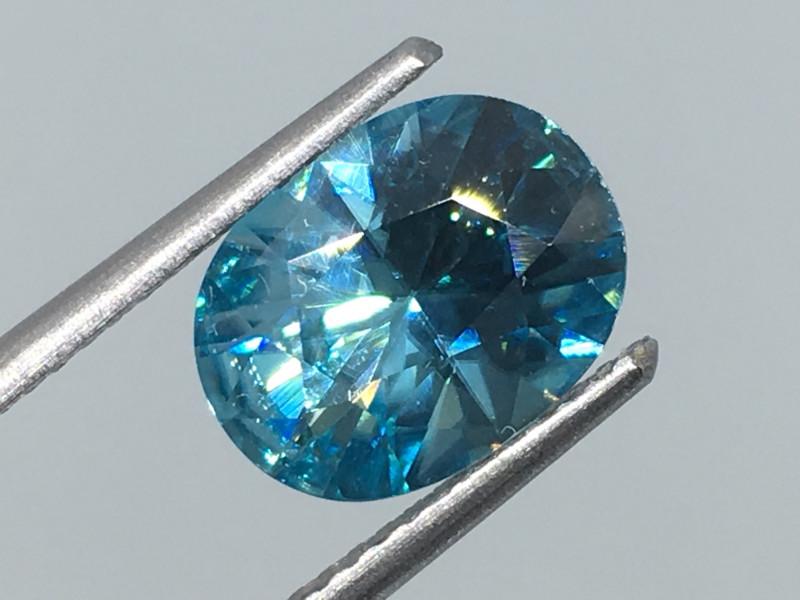 2.99 Carat Zircon Caribbean Blue Precision Cut Exquisite Quality !