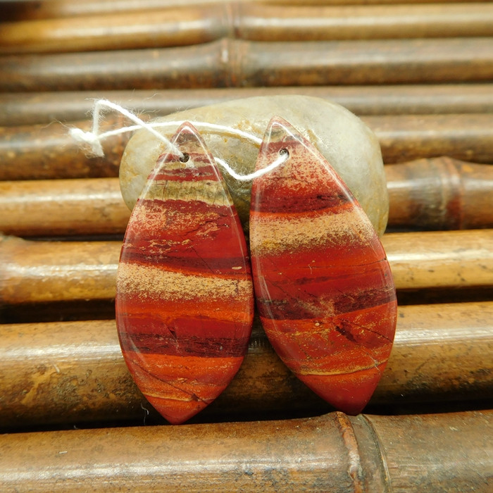 Wholesale red jasper earring pairs for jewelry making (G0136)
