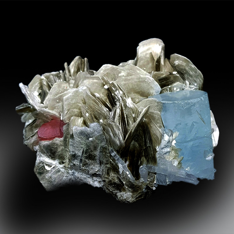 Aquamarine Crystal with Pink Apatite and Mica Mineral Specimen - 261 g