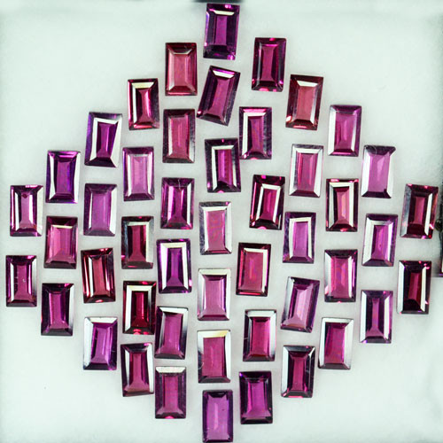 16.94Ct Natural Purple Rhodolite Garnet Baguette 5 X 3mm Parcel