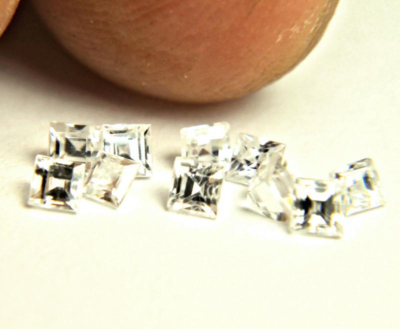 1.19 Tcw. Fancy Cut VS White Zircons - 9pcs - 2.5mm