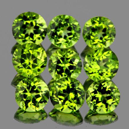 4.50 mm Round 9 pcs 3.90cts Green Peridot [VVS]