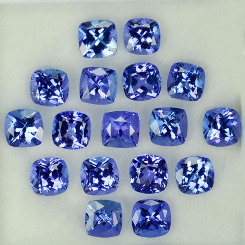 11.42Ct Natural Purple Blue Tanzanite Cushion 5mm Parcel