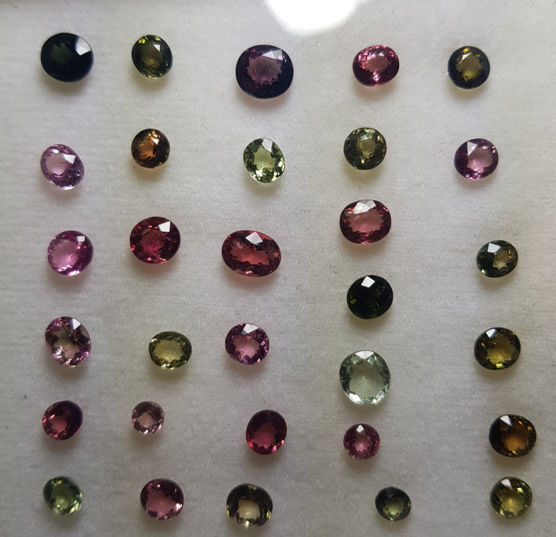 31 PCS 23.97 CTS NATURAL STUNNING MULTI COLOR TOURMALINE LOT