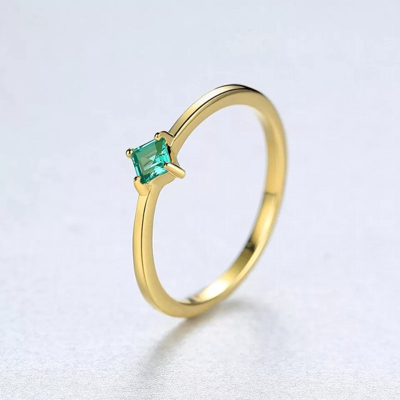 5.95 Ct Natural Emerald  925 Sterling Silver Gold Color Finger  Anniversary