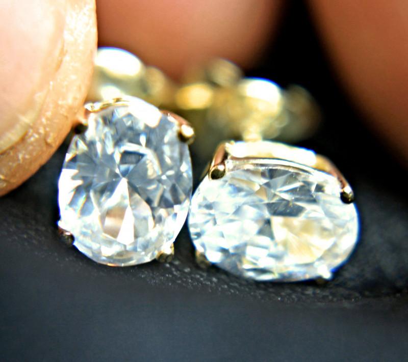 9.2 Tcw. Natural White Zircon Earrings - Gorgeous