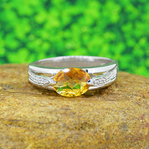 Natural  Citrine 925 Sterling Silver Ring Unisex(SSR0504)