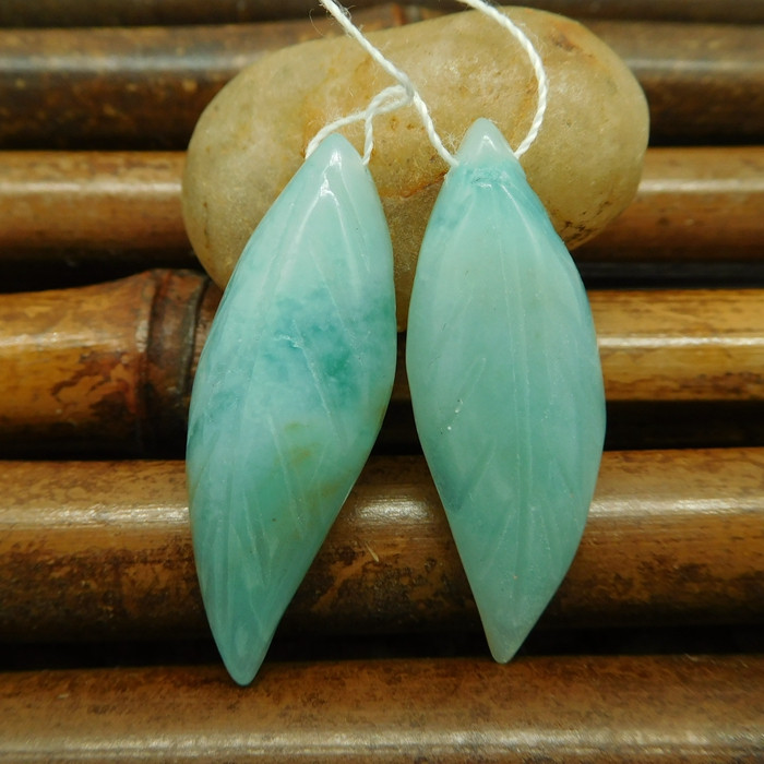 Amazonite carving leaf earring pairs (G0182)