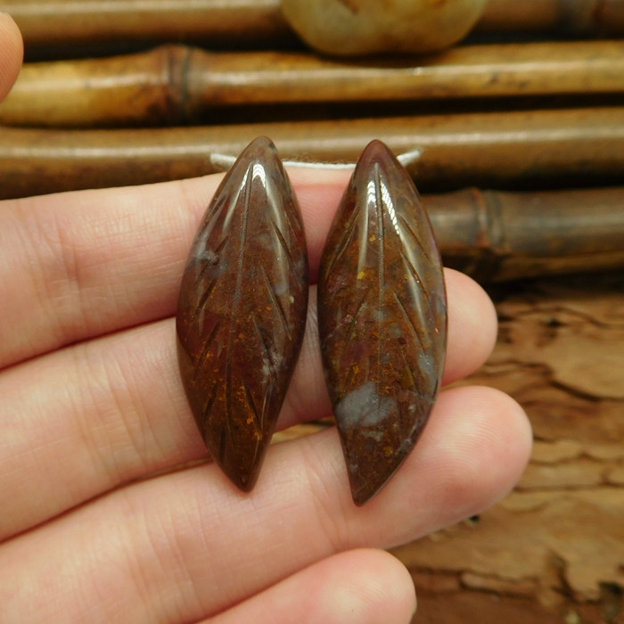 Gemstone fancy agate carving leaf pairs jewlery making handmade gift (G0184
