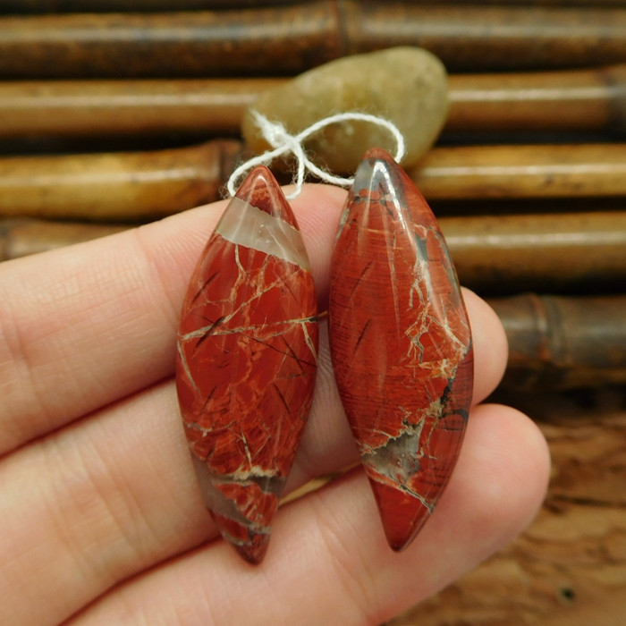 Natural gemstone red river jasper earring beads for jewelry (G0185)