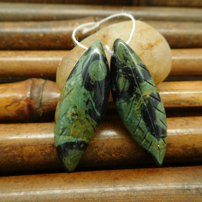 Oean kambaba carved leaf gemstone pairs (G0188)