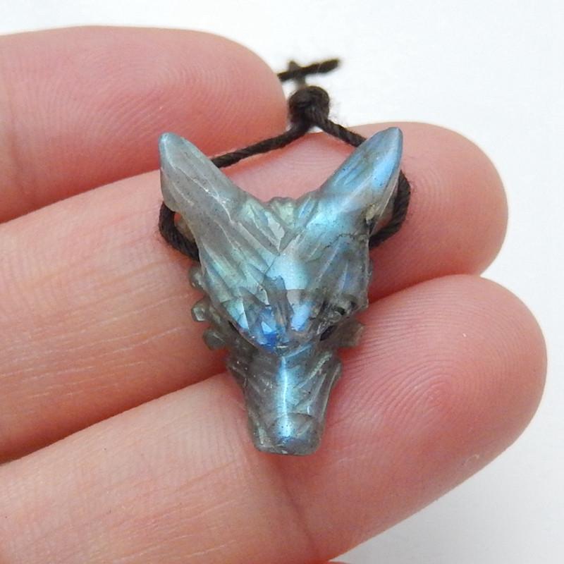 Unique tiny wolf head, Handmade Labradorite Carved Wolf Head Pendant Bead H