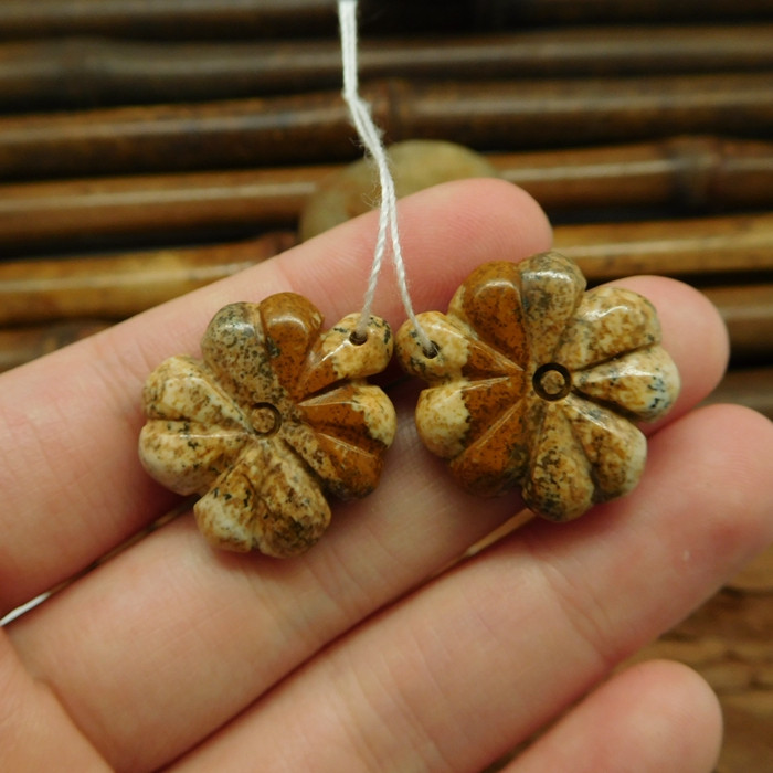 Picture jasper four leaf clover earring set for jewelry (G0192)