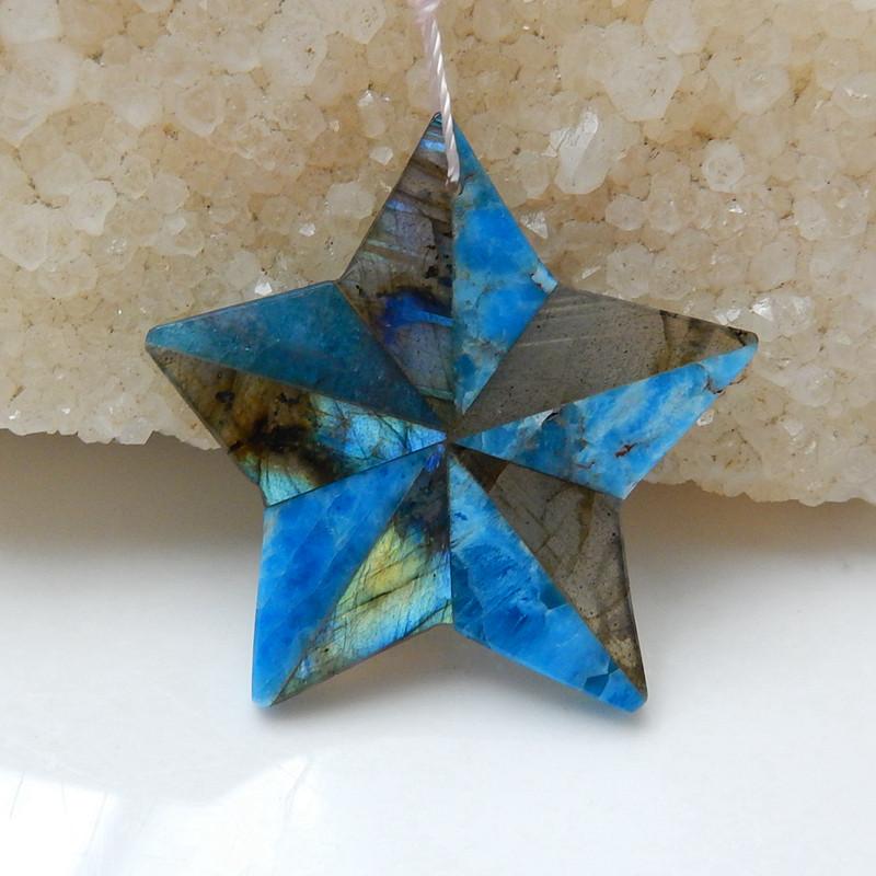 Blue Apatite Crystal and Labradorite Intarsia Carved Star Pendant Bead H535