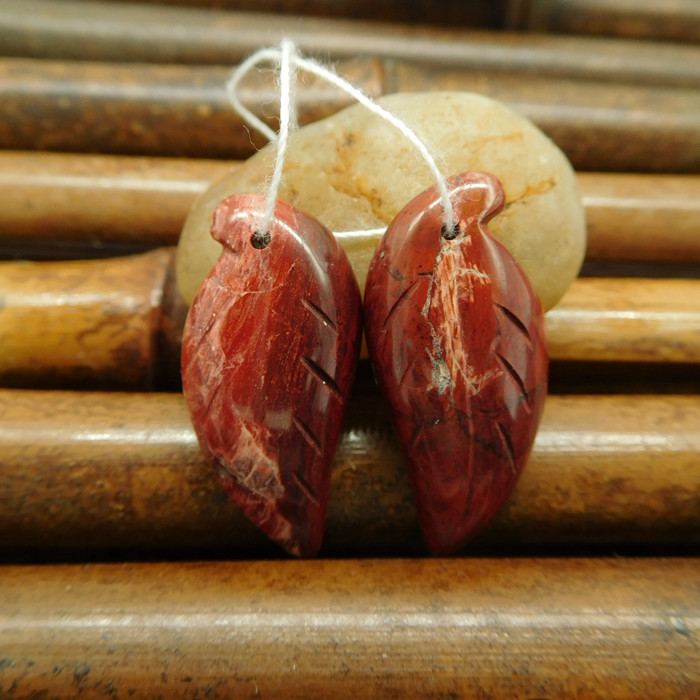 Natural red river jasper carving leaf earring jewelry (G0195)