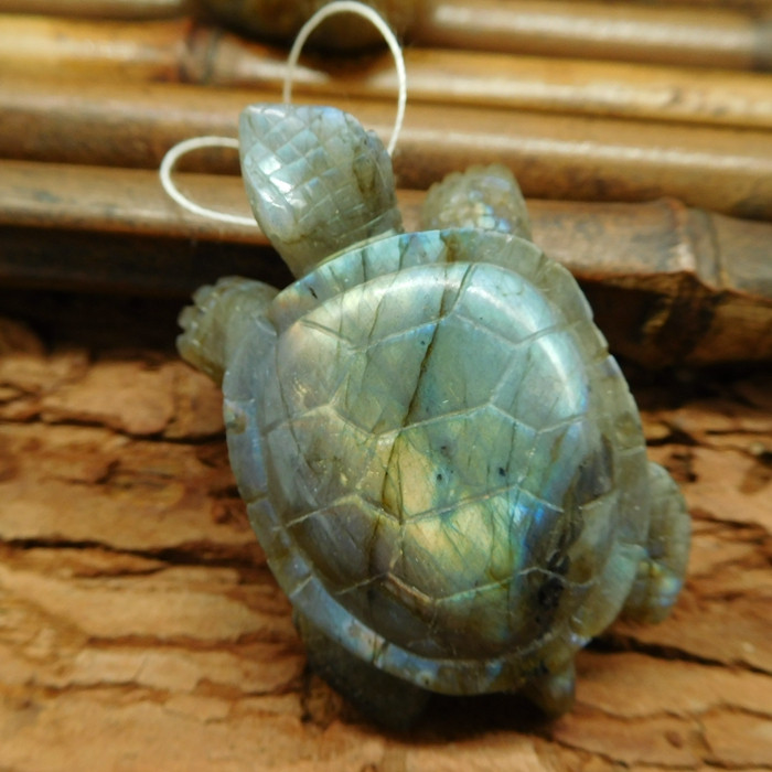 Narural gemstone labradorite carving tortoise pendant sea turtle lover(G020