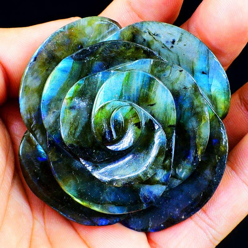 Genuine 290 cts Blue Flash Labradorite Rose