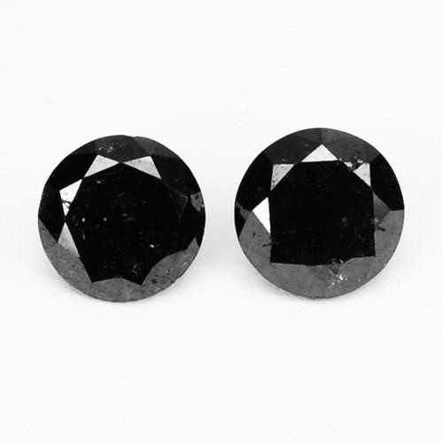 0.28 Cts Natural Coal Black Diamond 2 Pcs Round Africa