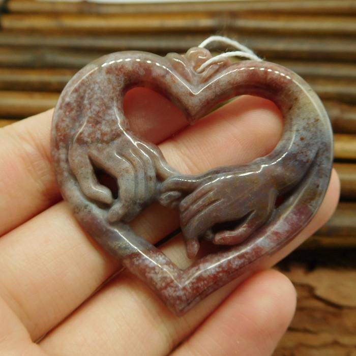 Natural gemstone carving heart shape pendant necklace (G0218)