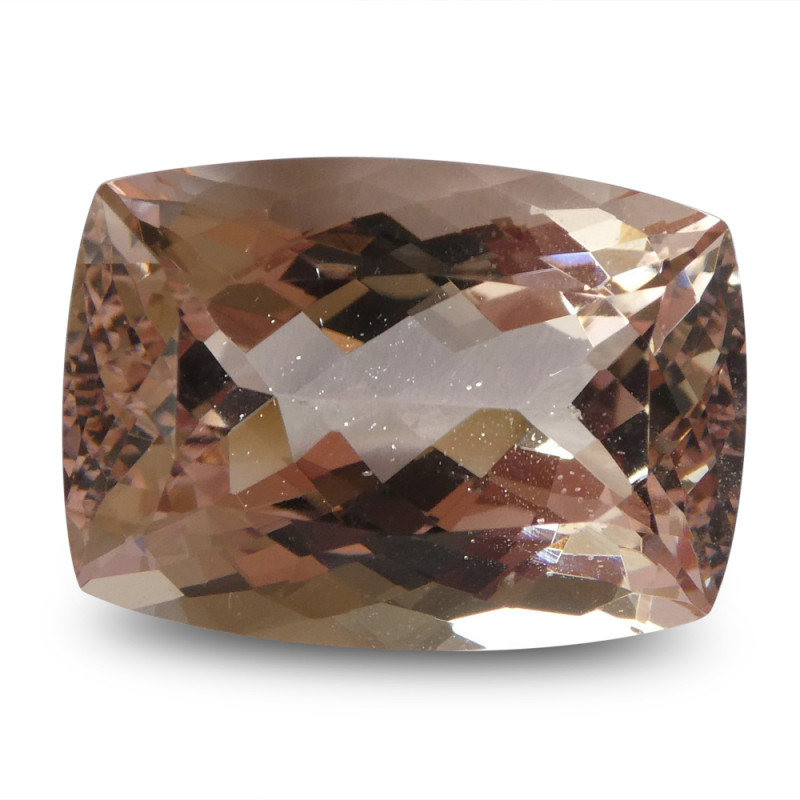 12.74 ct Morganite Cushion IGI Certified - $1 No Reserve Auction