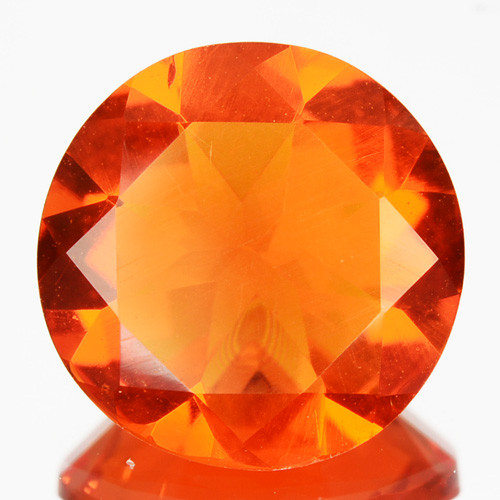 1.32 Cts Fiery Orange Natural Mexican Fire Opal 8.5 mm Round Cut
