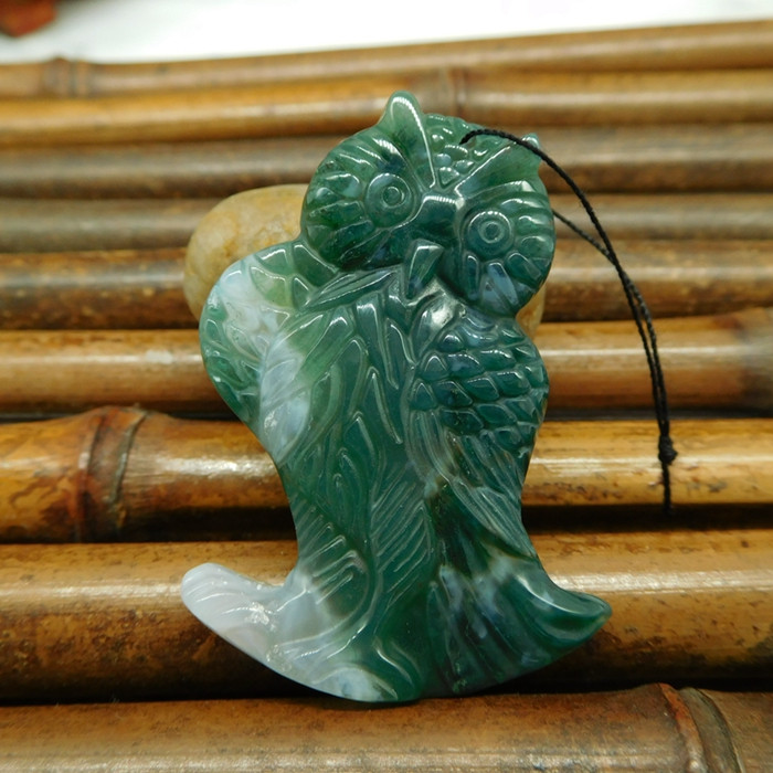 Moss agate carving owl pendant for necklace animal jewlery (G0223)