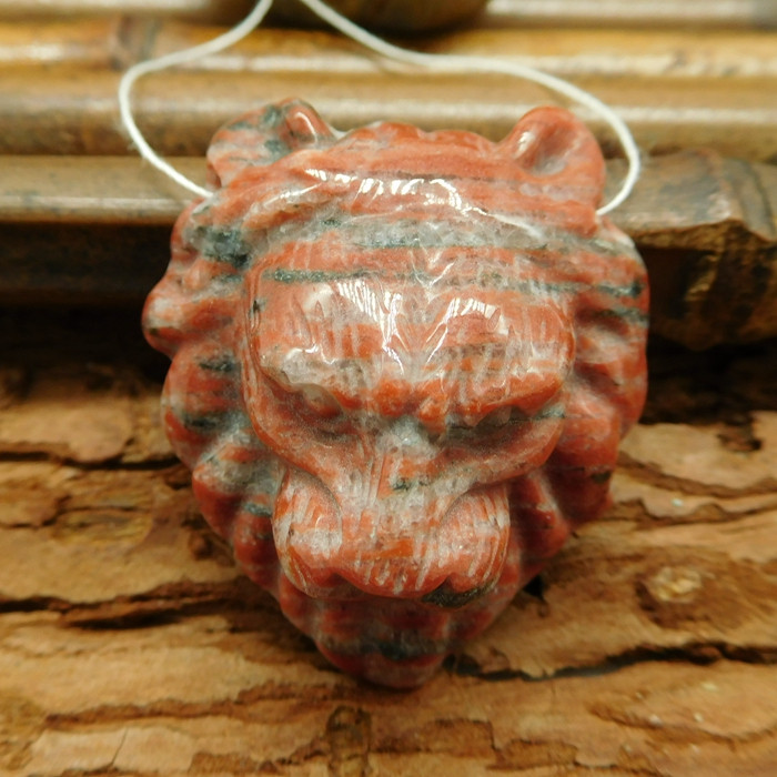 Red stripe jasper carved lion head pendant jewelry making(G0231)