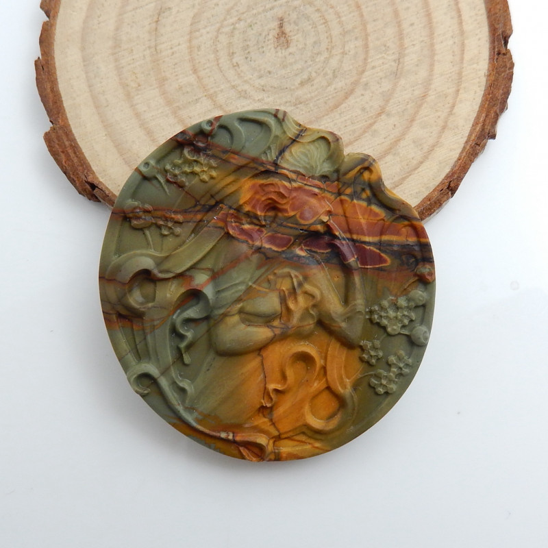New Arrival Figure Carving ,Hand Carved Gemstone Cabochon .Multi Color Jasp