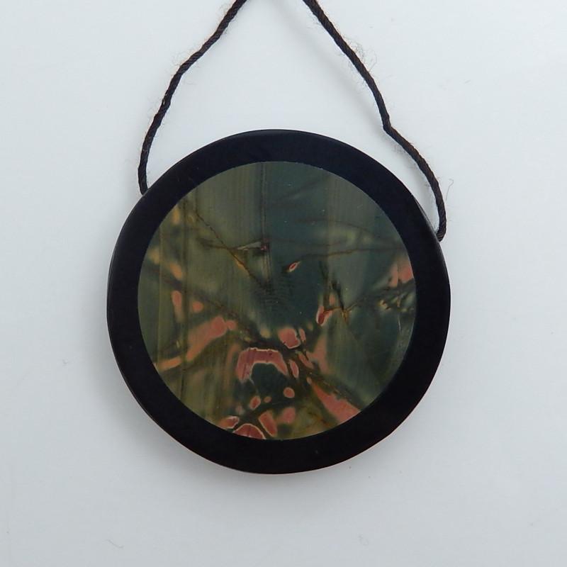 Obsidian, Multi Color Jasper Intarsia Pendant,Round Gemstone C483