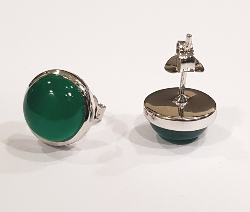 Green Onyx 925 Sterling silver earrings #33518