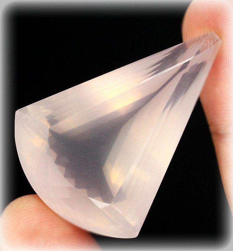 137.00ct Fancy Faceted Pale Pink Rose Quartz Gem - Large and Impressive