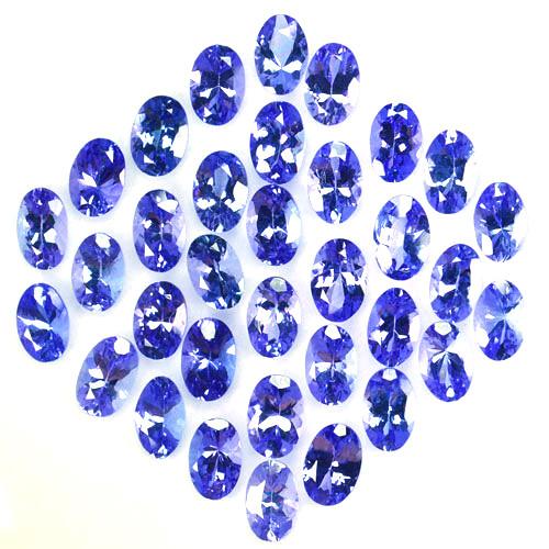 17.40Cts NATURAL TANZANITE - 6 X 4mm - OVAL - 34Pcs - PURPLE BLUE - TANZANI